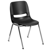 Advantage 661 lb. Capacity Kids Black Ergonomic Shell Stack Chair with Chrome Frame and 16'' Seat Height [RUT-16-BK-CHR-GG]
