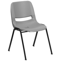 Advantage 880 lb. Capacity Gray Ergonomic Shell Stack Chair [RUT-EO1-GY-GG]