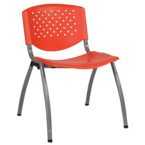 Advantage 880 lb. Capacity Orange Plastic Stack Chair with Titanium Frame [RUT-F01A-OR-GG]