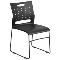 Advantage 881 lb. Capacity Black Sled Base Stack Chair with Air-Vent Back [RUT-2-BK-GG]