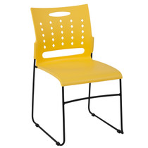 Advantage 881 lb. Capacity Yellow Sled Base Stack Chair with Air-Vent Back [RUT-2-YL-GG]