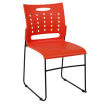 Advantage 881 lb. Capacity Orange Sled Base Stack Chair with Air-Vent Back [RUT-2-OR-GG]