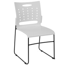 Advantage 881 lb. Capacity White Sled Base Stack Chair with Air-Vent Back [RUT-2-WH-GG]