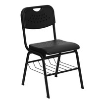 Advantage 880 lb. Capacity Black Plastic Chair with Black Frame and Book Basket [RUT-GK01-BK-BAS-GG]