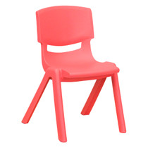Advantage Red Plastic Stackable School Chair with 12'' Seat Height [YU-YCX-001-RED-GG]