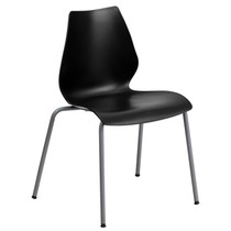 Advantage 770 lb. Capacity Black Stack Chair with Lumbar Support and Silver Frame [RUT-288-BK-GG]