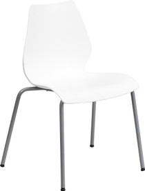 Advantage 770 lb. Capacity White Stack Chair with Lumbar Support and Silver Frame [RUT-288-WHITE-GG]
