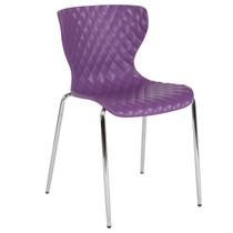 Advantage Lowell Contemporary Design Purple Plastic Stack Chair [LF-7-07C-PUR-GG]