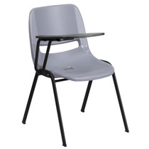 Advantage Gray Ergonomic Shell Chair with Right Handed Flip-Up Tablet Arm [RUT-EO1-GY-RTAB-GG]