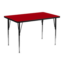Advantage 30''W x 48''L Rectangular Red Thermal Laminate Activity Table - Standard Height Adjustable Legs [XU-A3048-REC-RED-T-A-GG]