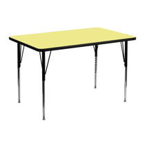 Advantage 30''W x 48''L Rectangular Yellow Thermal Laminate Activity Table - Standard Height Adjustable Legs [XU-A3048-REC-YEL-T-A-GG]