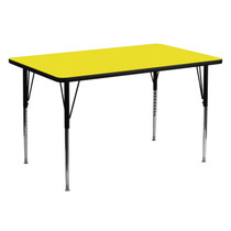 Advantage 30''W x 60''L Rectangular Yellow HP Laminate Activity Table - Standard Height Adjustable Legs [XU-A3060-REC-YEL-H-A-GG]