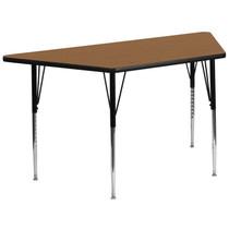 Advantage 29.5''W x 57.25''L Trapezoid Oak Thermal Laminate Activity Table - Standard Height Adjustable Legs [XU-A3060-TRAP-OAK-T-A-GG]