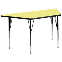 Advantage 29.5''W x 57.25''L Trapezoid Yellow Thermal Laminate Activity Table - Standard Height Adjustable Legs [XU-A3060-TRAP-YEL-T-A-GG]
