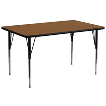 Advantage 30''W x 72''L Rectangular Oak HP Laminate Activity Table - Standard Height Adjustable Legs [XU-A3072-REC-OAK-H-A-GG]