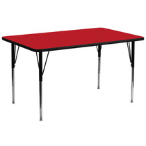 Advantage 30''W x 72''L Rectangular Red HP Laminate Activity Table - Standard Height Adjustable Legs [XU-A3072-REC-RED-H-A-GG]