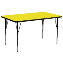 Advantage 30''W x 72''L Rectangular Yellow HP Laminate Activity Table - Standard Height Adjustable Legs [XU-A3072-REC-YEL-H-A-GG]