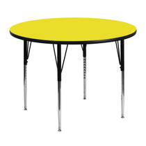 Advantage 48'' Round Yellow HP Laminate Activity Table - Standard Height Adjustable Legs [XU-A48-RND-YEL-H-A-GG]