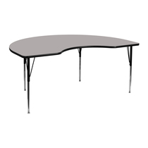 Advantage 48''W x 72''L Kidney Grey HP Laminate Activity Table - Standard Height Adjustable Legs [XU-A4872-KIDNY-GY-H-A-GG]