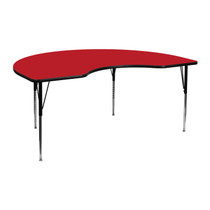 Advantage 48''W x 72''L Kidney Red HP Laminate Activity Table - Standard Height Adjustable Legs [XU-A4872-KIDNY-RED-H-A-GG]