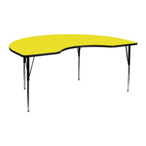 Advantage 48''W x 72''L Kidney Yellow HP Laminate Activity Table - Standard Height Adjustable Legs [XU-A4872-KIDNY-YEL-H-A-GG]