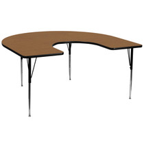 Advantage 60''W x 66''L Horseshoe Oak Thermal Laminate Activity Table - Standard Height Adjustable Legs [XU-A6066-HRSE-OAK-T-A-GG]