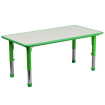 Advantage 23.625''W x 47.25''L Rectangular Green Plastic Height Adjustable Activity Table with Grey Top [YU-YCY-060-RECT-TBL-GREEN-GG]