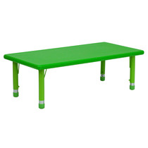 Advantage 24''W x 48''L Rectangular Green Plastic Height Adjustable Activity Table [YU-YCX-001-2-RECT-TBL-GREEN-GG]