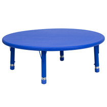 Advantage 45'' Round Blue Plastic Height Adjustable Activity Table [YU-YCX-005-2-ROUND-TBL-BLUE-GG]