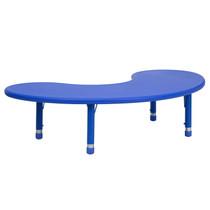 Advantage 35''W x 65''L Half-Moon Blue Plastic Height Adjustable Activity Table [YU-YCX-004-2-MOON-TBL-BLUE-GG]
