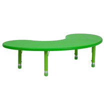 Advantage 35''W x 65''L Half-Moon Green Plastic Height Adjustable Activity Table [YU-YCX-004-2-MOON-TBL-GREEN-GG]