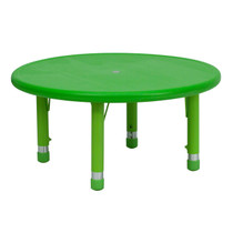 Advantage 33'' Round Green Plastic Height Adjustable Activity Table [YU-YCX-007-2-ROUND-TBL-GREEN-GG]