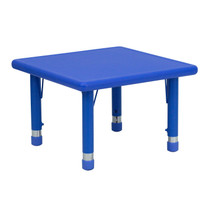 Advantage 24'' Square Blue Plastic Height Adjustable Activity Table [YU-YCX-002-2-SQR-TBL-BLUE-GG]
