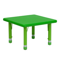 Advantage 24'' Square Green Plastic Height Adjustable Activity Table [YU-YCX-002-2-SQR-TBL-GREEN-GG]