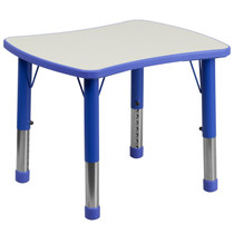 Advantage 21.875''W x 26.625''L Rectangular Blue Plastic Height Adjustable Activity Table with Grey Top [YU-YCY-098-RECT-TBL-BLUE-GG]