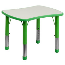 Advantage 21.875''W x 26.625''L Rectangular Green Plastic Height Adjustable Activity Table with Grey Top [YU-YCY-098-RECT-TBL-GREEN-GG]
