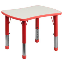Advantage 21.875''W x 26.625''L Rectangular Red Plastic Height Adjustable Activity Table with Grey Top [YU-YCY-098-RECT-TBL-RED-GG]