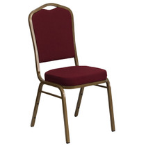 Advantage Crown Back Stacking Banquet Chair in Burgundy Fabric - Gold Frame [FD-C01-ALLGOLD-3169-GG]