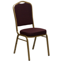Advantage Crown Back Stacking Banquet Chair in Burgundy Patterned Fabric - Gold Frame [FD-C01-ALLGOLD-EFE1679-GG]