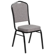 Advantage Crown Back Stacking Banquet Chair in Gray Fabric - Black Frame [FD-C01-B-5-GG]