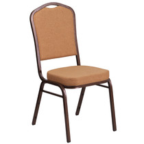 Advantage Crown Back Stacking Banquet Chair in Light Brown Fabric - Copper Vein Frame [FD-C01-C-4-GG]