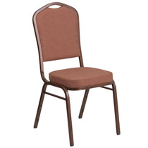 Advantage Crown Back Stacking Banquet Chair in Brown Fabric - Copper Vein Frame [FD-C01-COP-1-GG]