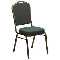 Advantage Crown Back Stacking Banquet Chair in Green Patterned Fabric - Gold Vein Frame [FD-C01-GOLDVEIN-0640-GG]