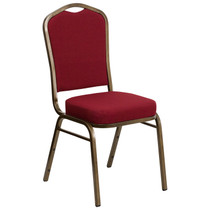 Advantage Crown Back Stacking Banquet Chair in Burgundy Fabric - Gold Vein Frame [FD-C01-GOLDVEIN-3169-GG]