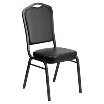 Advantage Crown Back Stacking Banquet Chair in Black Vinyl - Gold Vein Frame [FD-C01-GOLDVEIN-BK-VY-GG]
