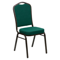 Advantage Crown Back Stacking Banquet Chair in Green Fabric - Gold Vein Frame [FD-C01-GOLDVEIN-GN-GG]