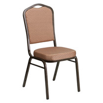 Advantage Crown Back Stacking Banquet Chair in Gold Diamond Patterned Fabric - Gold Vein Frame [FD-C01-GOLDVEIN-GO-GG]