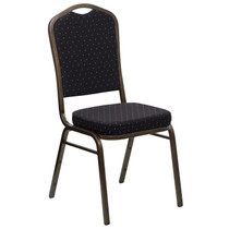Advantage Crown Back Stacking Banquet Chair in Black Patterned Fabric - Gold Vein Frame [FD-C01-GOLDVEIN-S0806-GG]