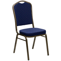 Advantage Crown Back Stacking Banquet Chair in Navy Blue Dot Patterned Fabric - Gold Vein Frame [FD-C01-GOLDVEIN-S0810-GG]