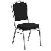 Advantage Crown Back Stacking Banquet Chair in Black Fabric - Silver Frame [FD-C01-S-11-GG]